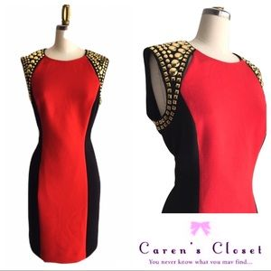 NWOT Micheal Kors Red & Black Gold Studded Dress